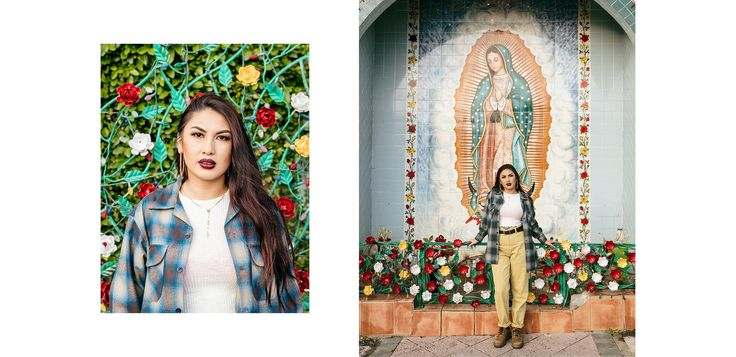 Amber Rose Comacho poses in front of a shrine for La Virgen de Guadalupe in the parking lot of El Mercado de Los Angeles in Boyle Heights.