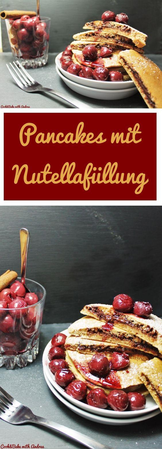 Was gibt es besseres als Pancakes zum Frühstück? Ja genau, gefüllte Pancakes mit Nutella und Kirschen! #pancakes #nutella #blätterteig #marmelade #schnellgemacht #easy #kirschen #baiser #herz #herzen #torte #kuchen #valentinstag #liebe #freund #freundin #spritzdekor #kirschen #biskuit #creme #füllung #rezept #blog #foodblog #candbwithandrea #candbfood