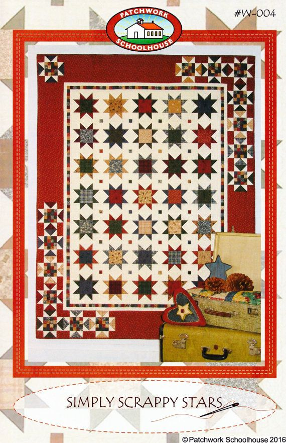 Quilting Pattern Simply Scrappy Stars: Pillow, Table Runner, Wall Hanging, Crib/Baby, Twin Quilts by Patchwork Schoolhouse (Digital File)