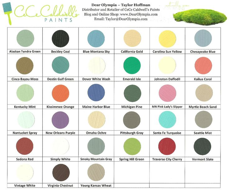Up to Date CeCe Caldwell Paint Chart with the new colors (Hand Painted) | Dear Olympia Paint Shop | Shop Online for CeCe Caldwell's Chalk and Clay Paints and Finishes
