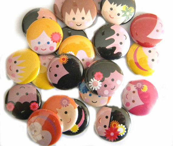 no idea what for, but really nice to see all those happy faces... happy face pin back buttons, from buttonsandbadges on etsy.