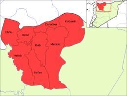 """""""Ain al-Arab (arabisch عين العرب, DMG ʿAyn al-ʿArab; kurdisch: Kobanî) ist die Bezeichnung sowohl für einen Bezirk im Gouvernement Aleppo in Syrien als auch für die gleichnamige Hauptstadt."""""""