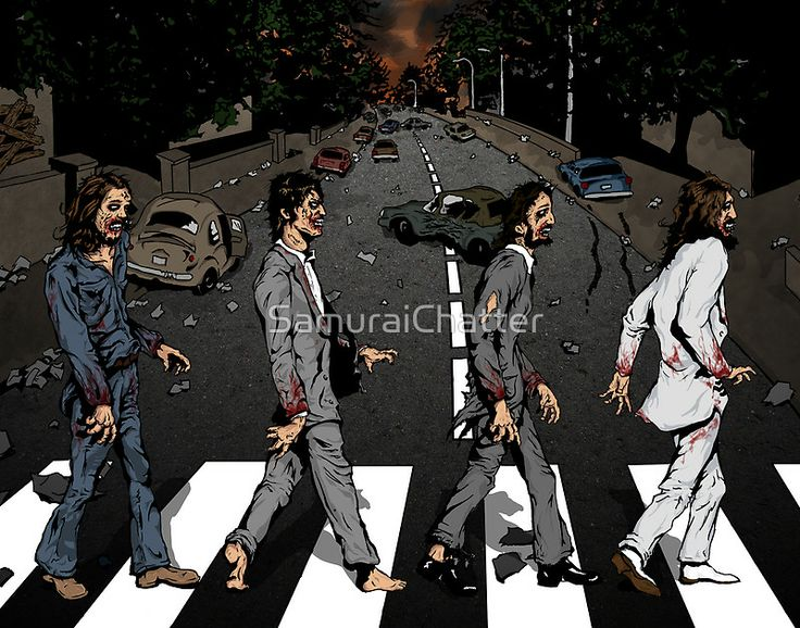 Paul, Everyone is Dead by SamuraiChatter. Abbey Road Zombie street walking tshirt design