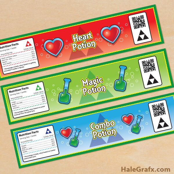 Click here to download FREE Printable Legend of Zelda Water Bottle Labels!