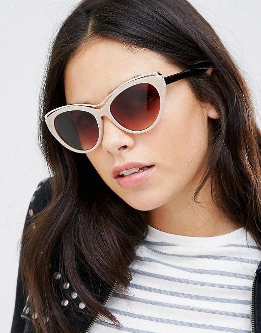 AJ Morgan Cat Eye Sunglasses in Taupe with Metal Frame