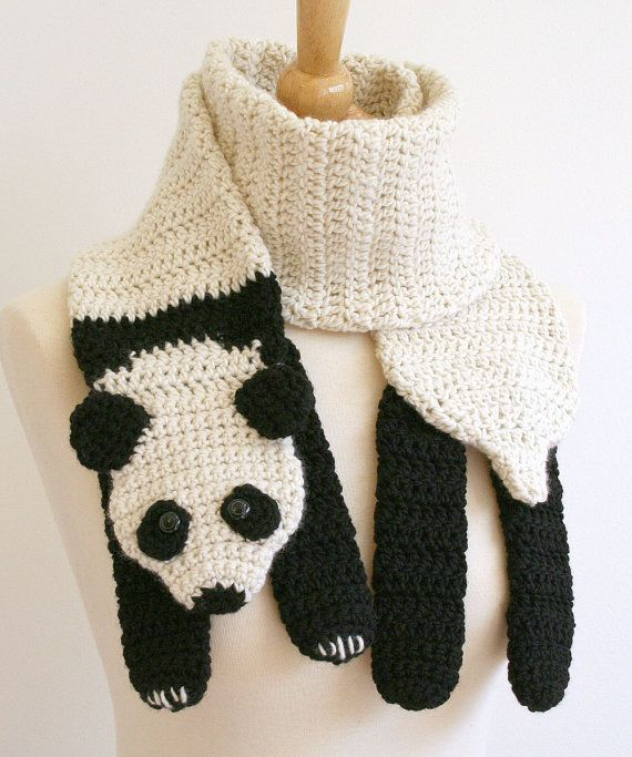 Digital PDF Crochet Pattern for Panda Bear Scarf - DIY Fashion Tutorial
