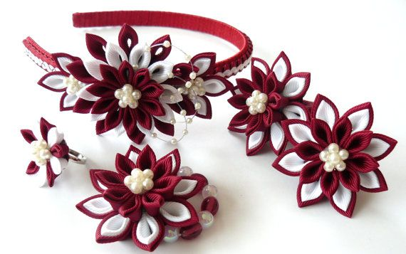 Set of 5 pieces - headband, 2 ponytails, bracelet, ring. A flowers are made in the technique of tsumami kanzashi.  Plastic headband is weaved with satin