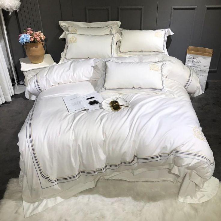 1000tc Egyptian Cotton White Bedding Set In 2020 White Bedding White Bed Set Cotton Bedding Sets