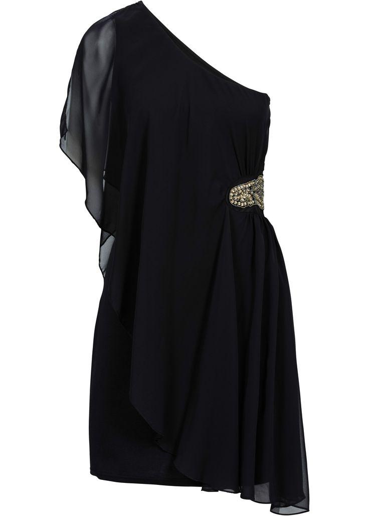One-shoulder-jurk zwart - BODYFLIRT nu in de onlineshop van bonprix.nl vanaf ? 49.99 bestellen. Elegante one-shoulder-jurk met aangenaam stevige voering, ...