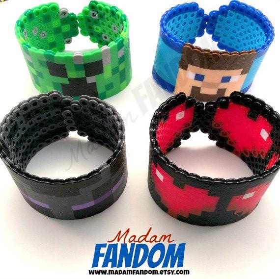 Minecraft Bracelet (Creeper, Steve, Enderman and Hearts) perler beadsby MadamFANDOM