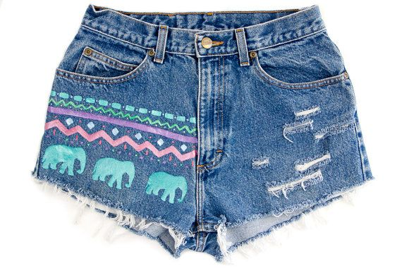 Tribal/Aztec Shorts, Hand Painted, Vintage Distressed High Waisted Denim, Upcycled W28 115 dollars