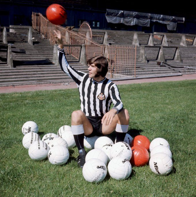 Newcastle legend Malcolm 'Super Mac' MacDonald poses with his balls out for a pre-season photo, 1972