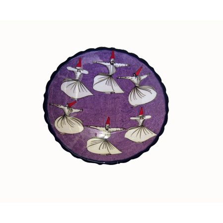 DERWISH CERAMIC PLATE, PURPLE, 18 CM