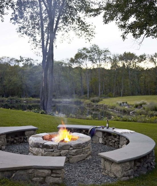 Firepit with stone benches