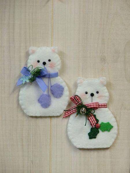 434 best felt cats images on pinterest felt cat cat for Cat christmas ornaments craft