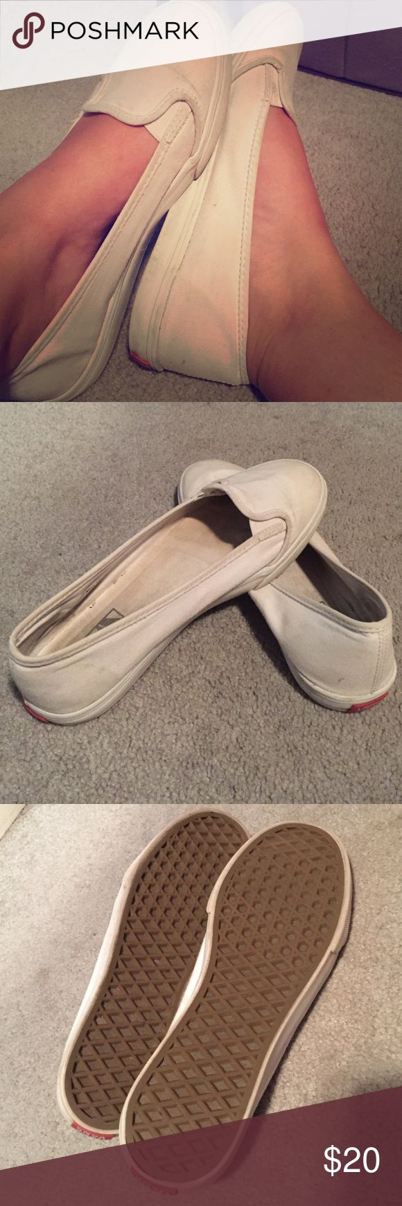 White slip on vans White slip on vans. A little dirty but will wash off in the washer. Lightly worn on the soles almost not noticeable! Size 7 1/2 Vans Shoes Sneakers