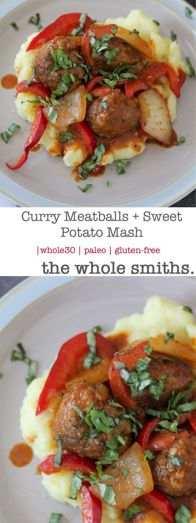 Whole30 compliant Curry Meatballs + Sweet Potato Mash. A quick recipe that perfect for busy weeknights and great for leftovers! Paleo and gluten-free.