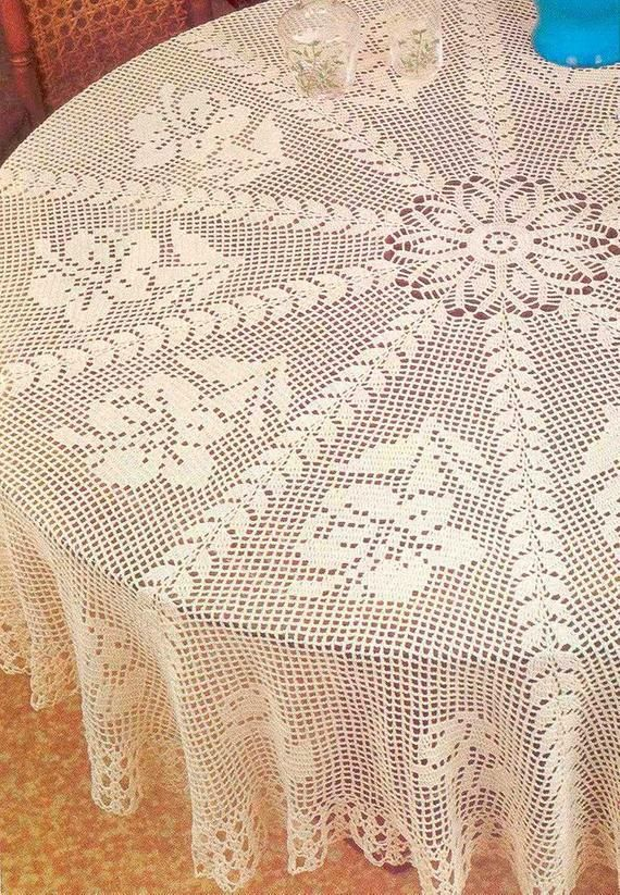Vintage Chart Crochet Pattern Round Tablecloth Giant Hibiscus Etsy In 2020 Crochet Tablecloth Pattern Vintage Crochet Patterns Crochet Round