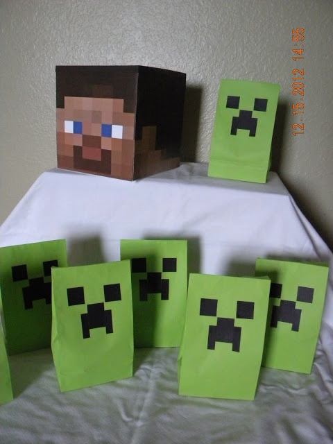 Minecraft Birthday Party candy bags, my son loves minecraft so ill have to get these going for him .
