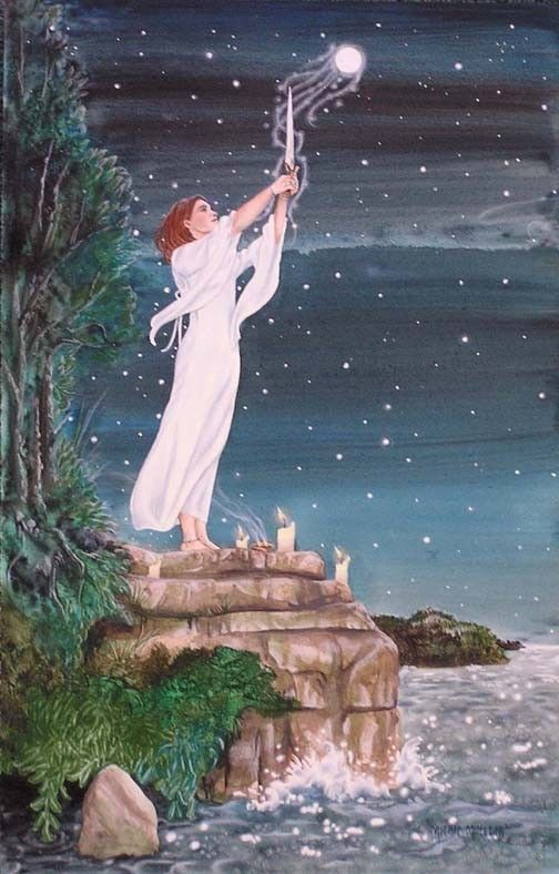 Drawing Down the Moon by Mickie Mueller #illustration #goddess #wicca    Sea magic ?