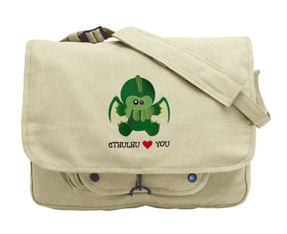Cthulhu Loves You Embroidered Canvas Messenger by JumpingJackalope
