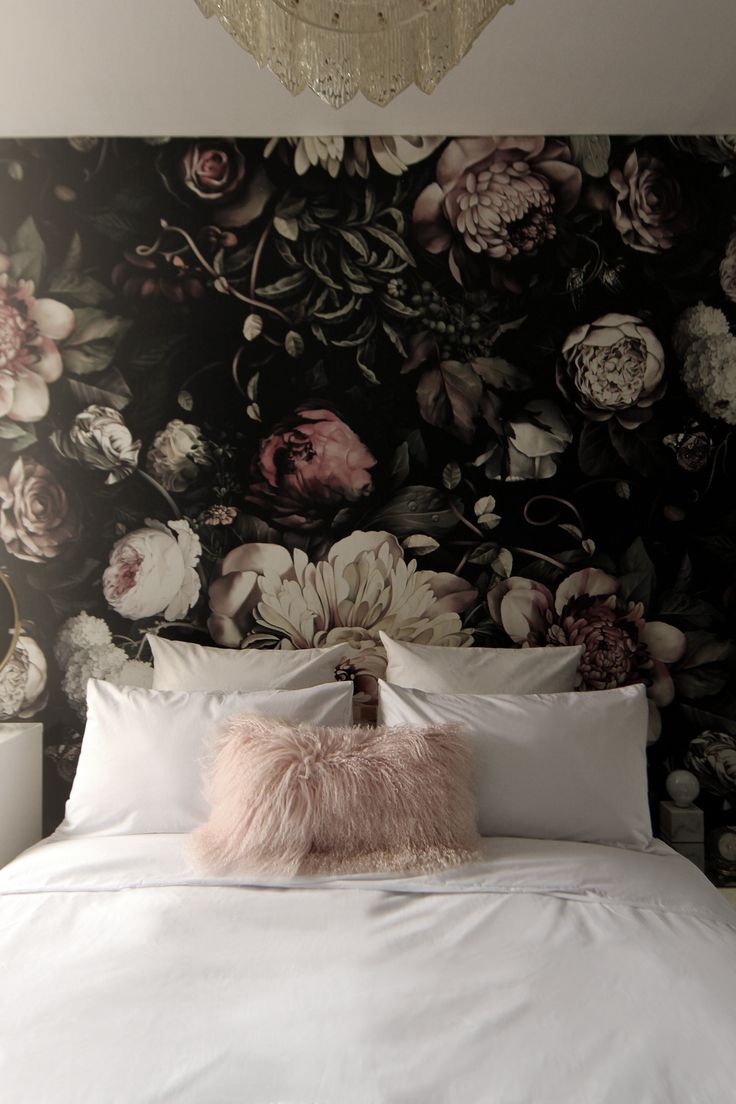 preciously me blog one room challenge bedroom makeover reveal ellie cashman dark floral - Floral Wallpaper Bedroom Ideas