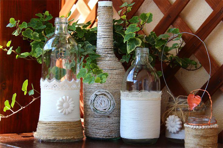 Come decorare bottiglie di vetro  How to decorate glass bottles www.lisoladeglidei.it