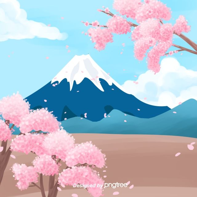 Illustration Style Of Mount Fuji In Japan Japan Illustration Japanese Background Japan Painting