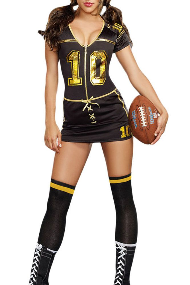 2017 New Summer Sexy  nurse costume Black V-Neck Short Sleeve Player Club Football Costume LC8963