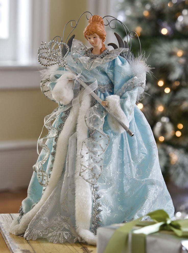 Shimmering Blue Angel Christmas Tree Topper