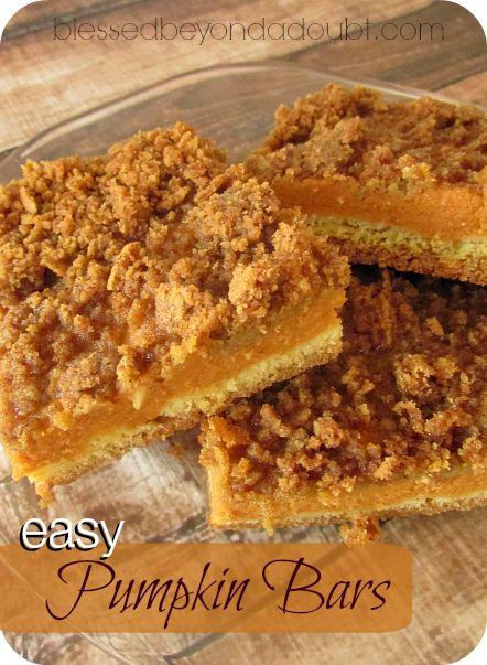 So easy, but yummy recipe for pumpkin bars!