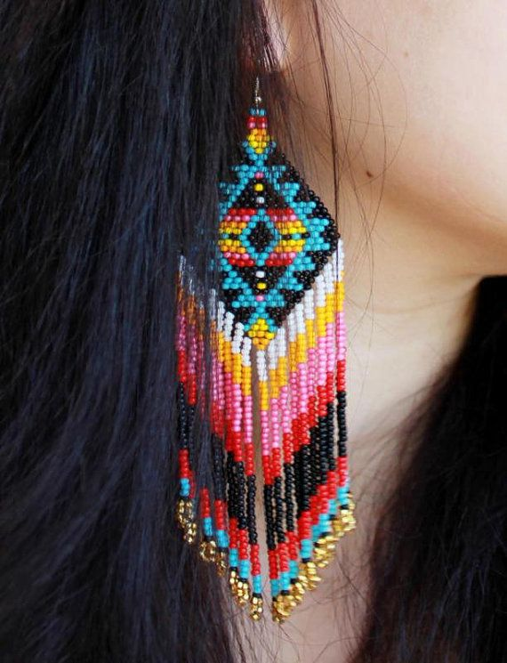 Native american beaded earrings, tribal jewellery, boho earrings, peyote earrings
