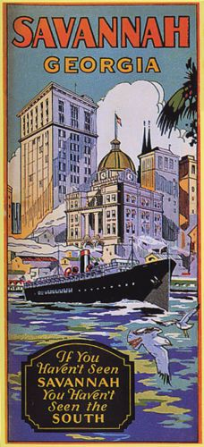 SAVANNAH-GEORGIA-SEAGULL-STEAMBOAT-BOAT-TRAVEL-TRAVEL-VINTAGE-POSTER-REPRO-LARGE