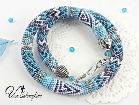 Blue Bead crochet necklace Christmas gifts for wife gray