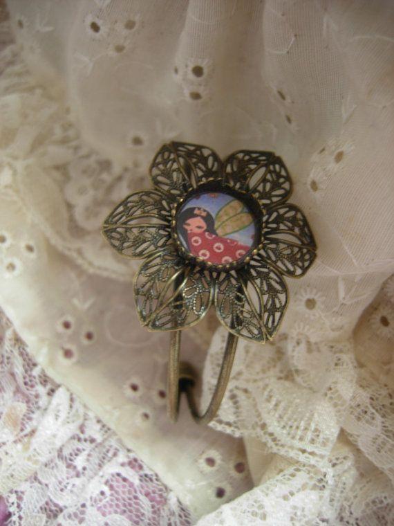 The Flower Fairy Bracelet  art illustrated brass fairy by eltsamp, $32.00