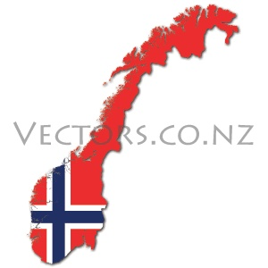 Flag Vector Map of Norway