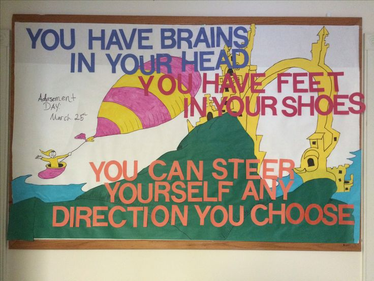 """Oh, the places you will go. By dr. Seuss. Used for an RA bulletin board I did, but can also be used for teaching. I used it for """"advisement day,"""" but could be used for graduation as well. You can always create awesome bulletin boards even if you cannot draw. Secret...I trace most of mine"""