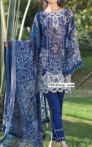 Blue Lawn Suit | Buy Mausummery Eid Collection Pakistani Dresses and Clothing online in USA, UK