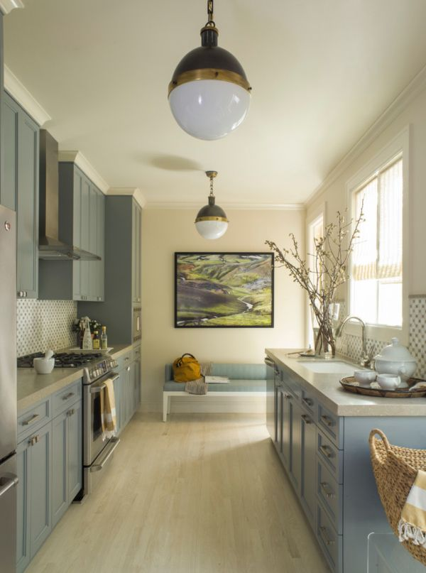 Light Blue Kitchen Cabinets In A Gray Transitional By Angela Free Design Via Atticmag
