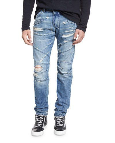 N3XHN Pierre Balmain Destroyed Slim-Fit Biker Jean, Denim Blue