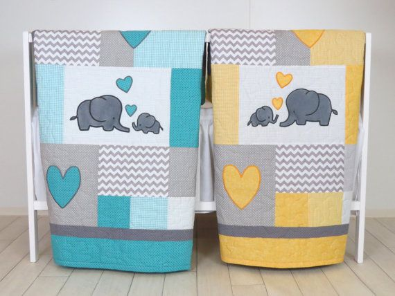 Twin Baby Quilts, éléphant literie pour berceau, Turquoise Bleu jaune et gris couverture, couvertures de Chevron, enfant en bas âge Patchwork Bespreads