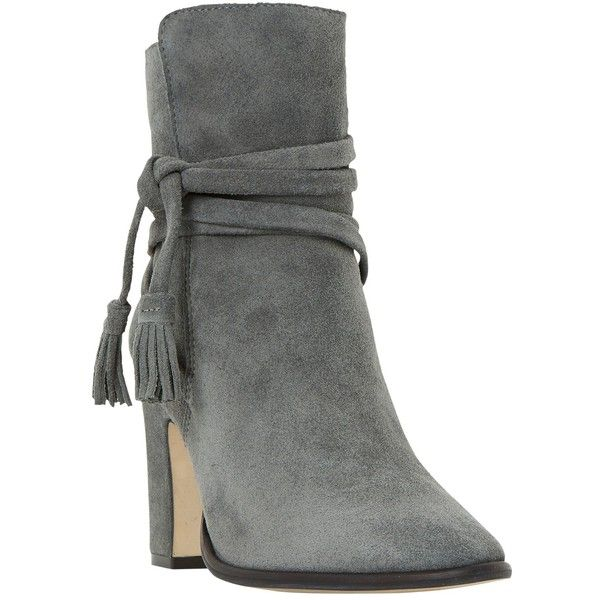 Dune Onyx Block Heeled Ankle Boot ($110) ❤ liked on Polyvore featuring shoes, boots, ankle booties, ankle boots, botas, heels, grey suede, flat booties, suede ankle boots and grey suede booties