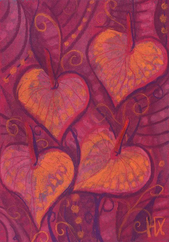 Hearty flowers stylized anthurium pastel by ClipsoCallipso on Etsy   #floralart #etsyartist #anthurium #hearts #hearty #floral #art #botanical