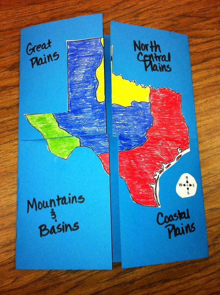 Texas History Four Regions Foldable This