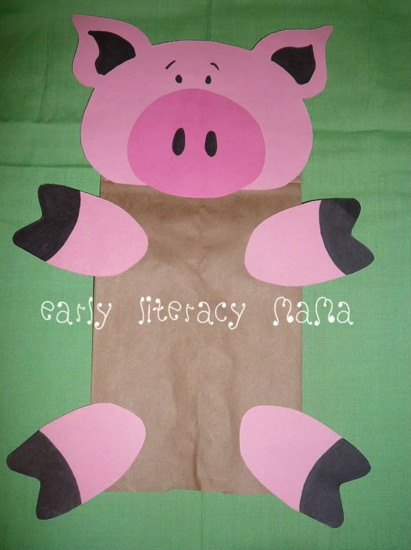Pig puppet puppet making class pinterest bags paper for The three little pigs puppet templates