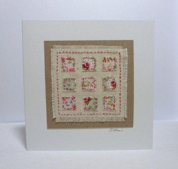 Pink Patchwork handstitched card