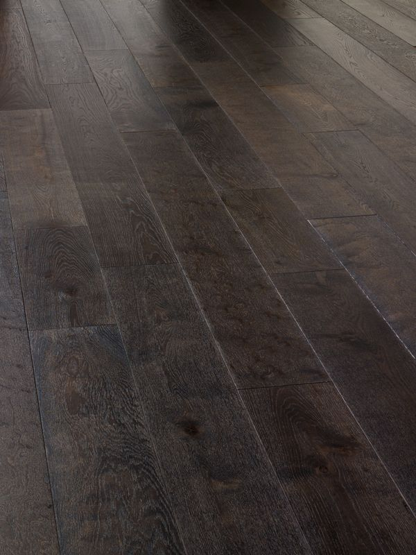 Picked this because it has wide planks Super engineered real wood flooring  Dark Grey oak plank . Brushed to create a textured surface.