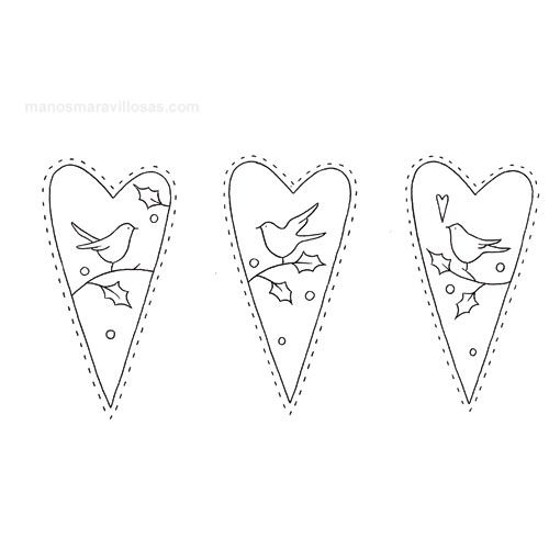 Tilda embroidery patterns: hearts with birds - pattern for sale, pic for inspiration.