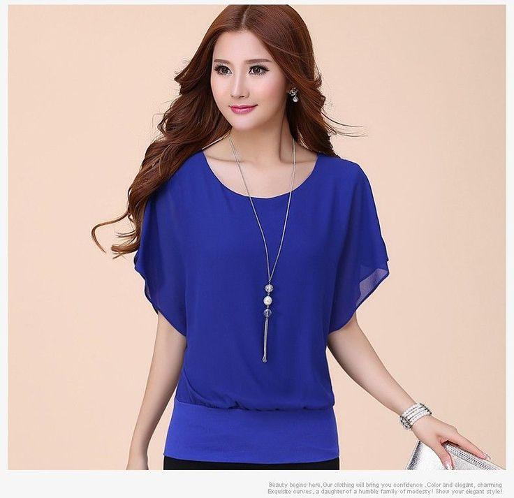blouse high quality chiffon fabric soft elastic casual short sleeve