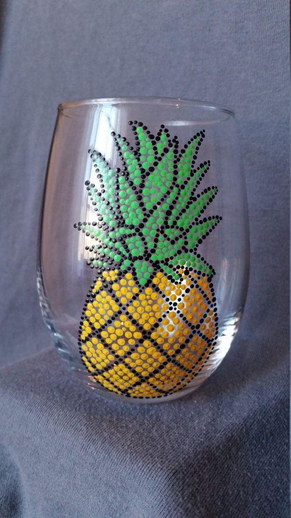 Pineapple Wine Glass; Summer Wine Glass; Tropical Glass
